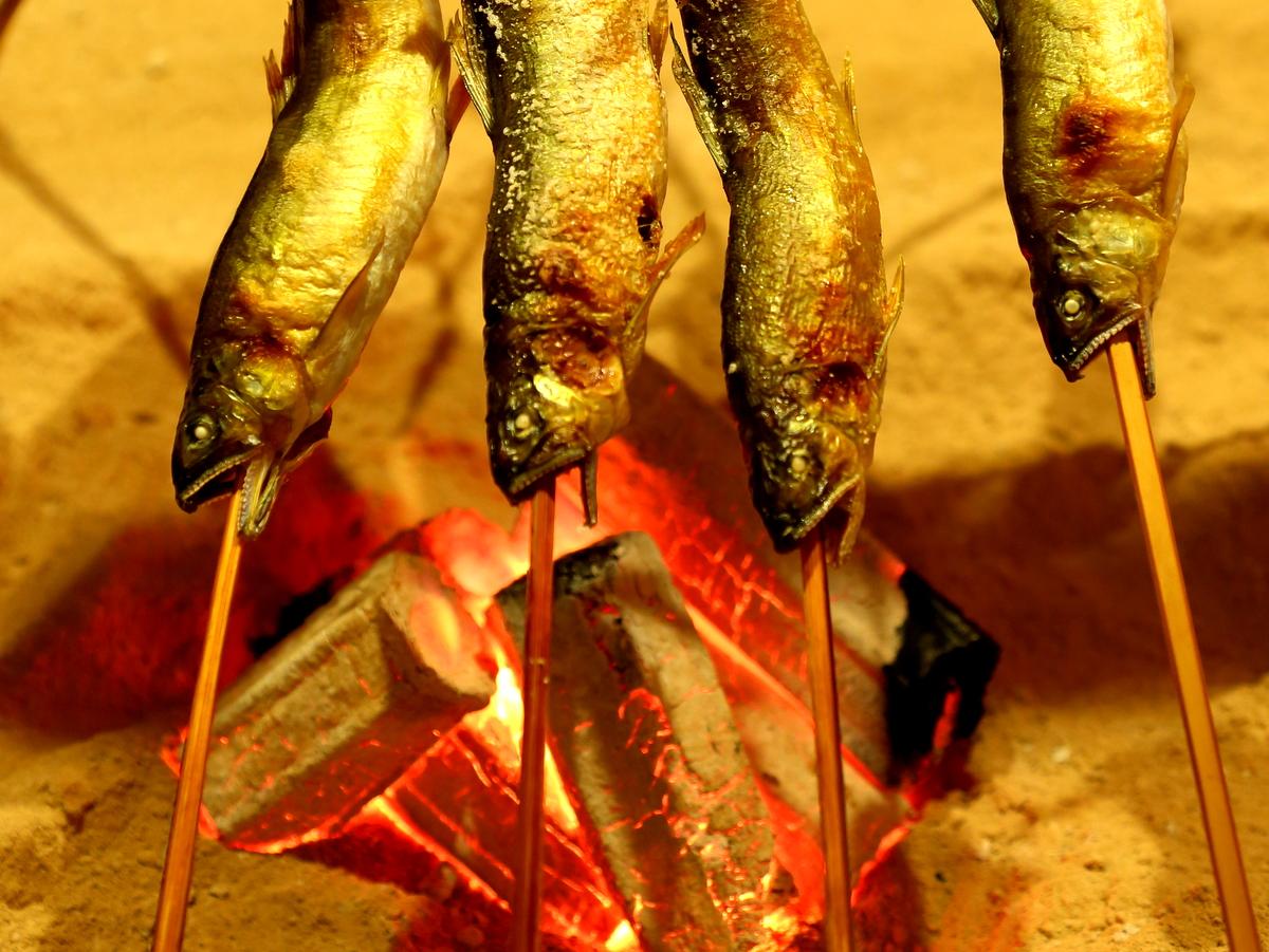 囲炉裏では川魚を炙ります。