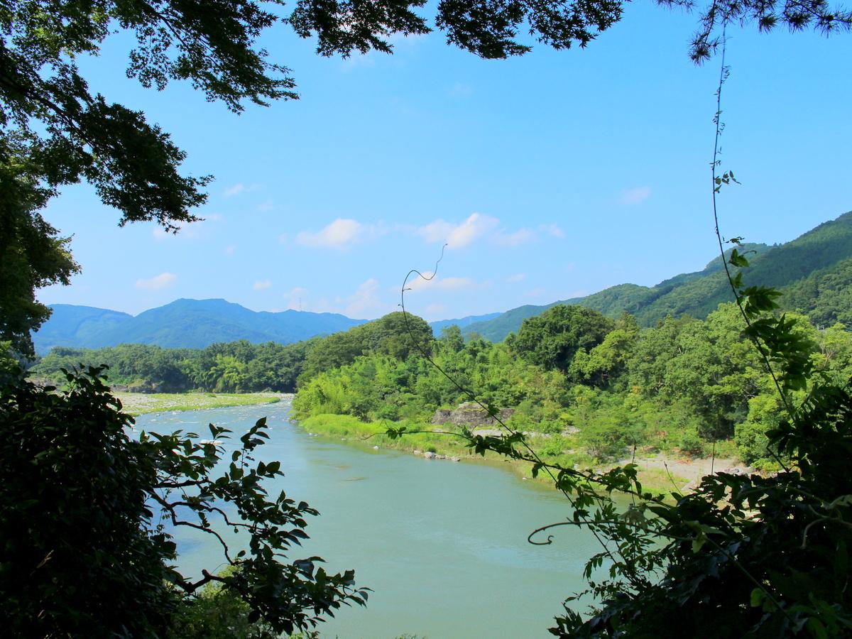 木々の間からは長瀞渓谷の風景が!