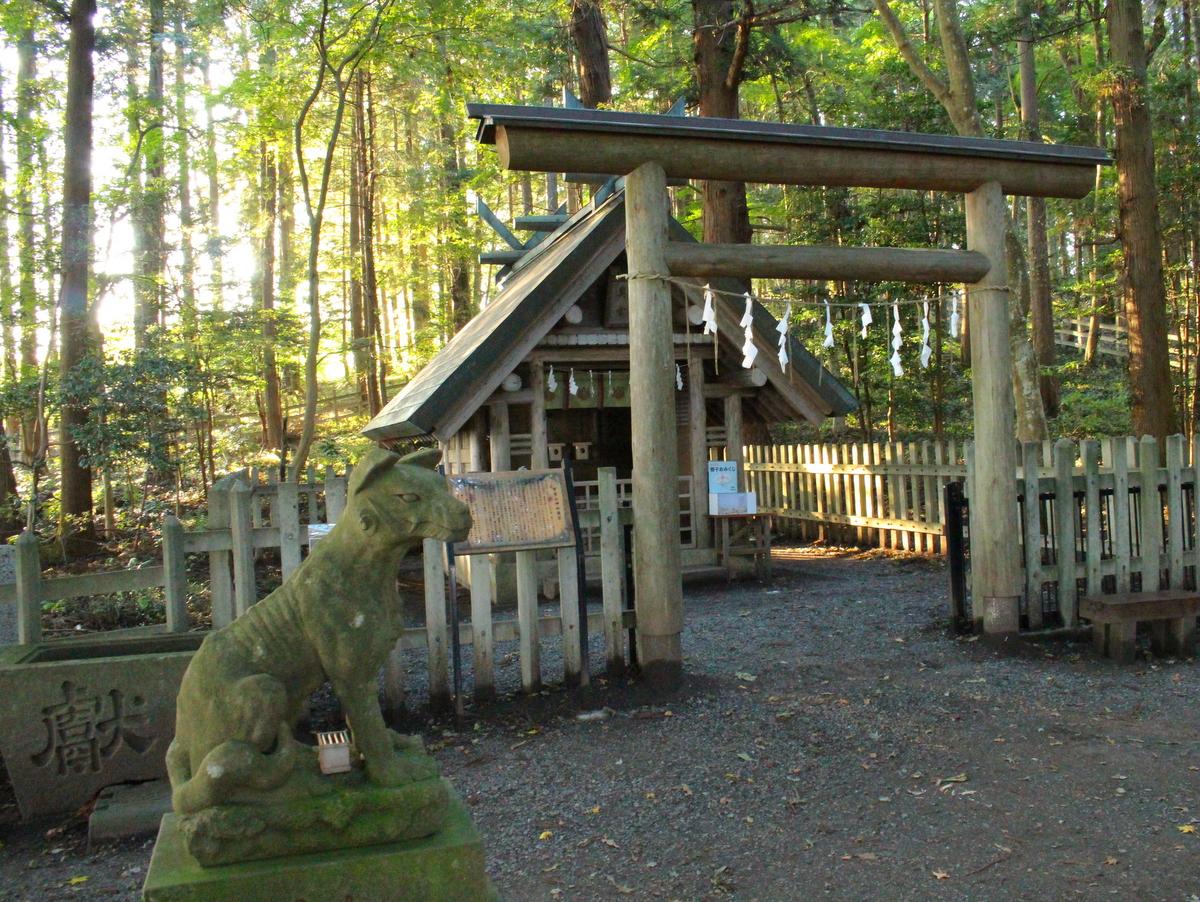 一対の狛犬(オオカミ)の先にある奥宮。木々に囲まれ雰囲気がガラリと変わります。